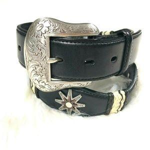 Nocona Belt Co Western Boho Leather Belt Applique